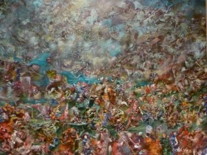 "Ali Banisadr, ""Interrogation,"" 2010, oil on linen, 48"" x 60"""