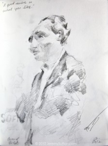 Bernard Portet sketch by Jeremy Sutton at Chez Mana's Going Global Event