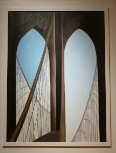 "Georgia O'Keeffe, ""Brooklyn Bridge,"" 1949, Oil on Masonite"