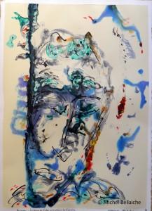 """Michel Bellaiche, """"Les Fleurs de l'Oubli,"""" acrylic and ink, 50 x 65 cm"""