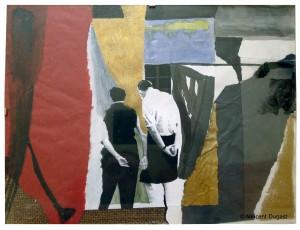 """Vincent Dugast, """"Le Spectateur et l'Oeuvre,"""" Technique mixte, 18 x 24 cm"""