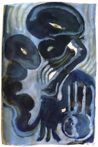 """Vincent Dugast, """"Duel de Monstres Bleus,"""" 2013, pigments, encre de chine, café.  19 x 29,5 cm"""