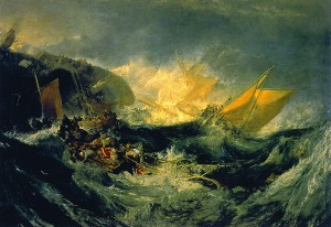 "J.M.W. Turner, "" The shipwreck of the Minotaur,"" , circa 1810 oil on canvas"