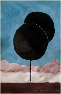"Vincent Dugast, ""Ballons,"" 2013, natural pigments, chinese ink and coffee on paper, 18 cm x 35 cm"