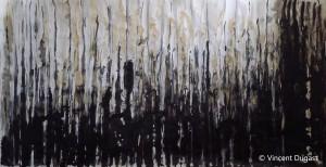"""Vincent Dugast, """"Grande Forêt Primaire,"""" 2011 encre de chine, fusain, pigments, café, 220 x110 cm"""